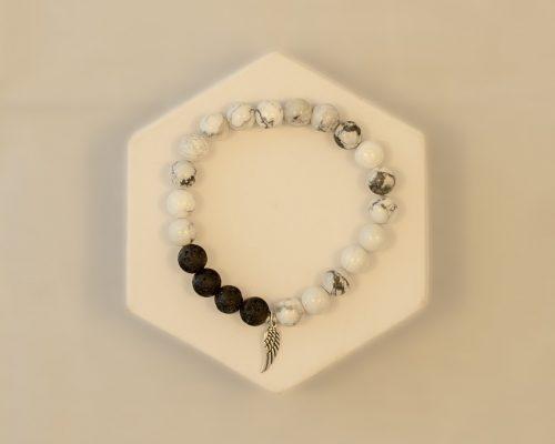 Howlite Silver Wing Bracelet